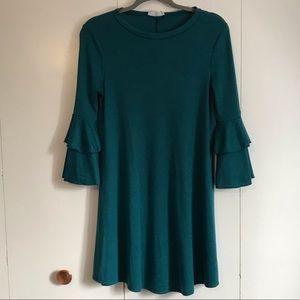 Teal bell sleeve dress